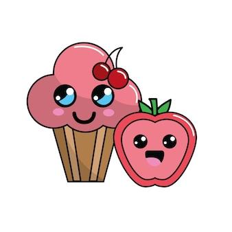 Kawaii kirschbecher kuchen und apple-symbol