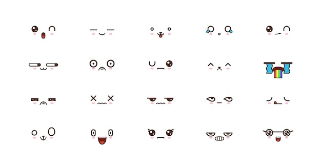 Kawaii lächelt emoticons. japanisches emoji