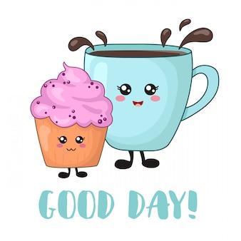 Kawaii lebensmittel der karikatur zum frühstück mit blaubeerkuchen und teekaffee