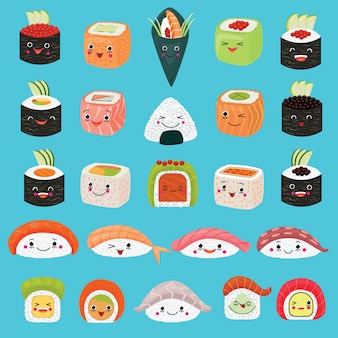 Kawaii lebensmittelvektor emoticon japanische sushi-charakter