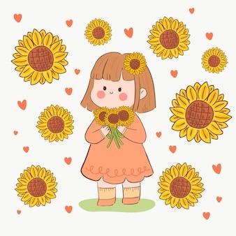 Kawaii mädchen mit sonnenblumen in ihren händen