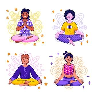 Kawaii meditationsaufkleber sammlung