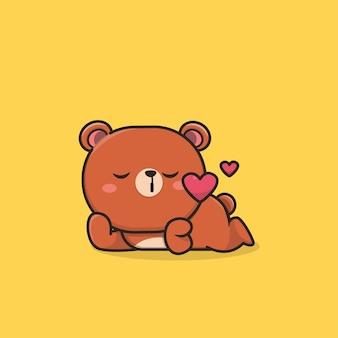 Kawaii nette ikone, die sich in bärenmaskottchenillustration verliebt