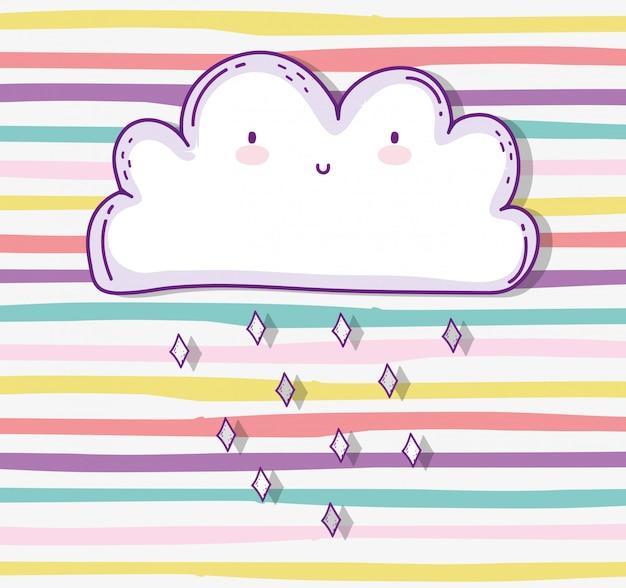 Kawaii niedliche wolke, die naturwetter regnet