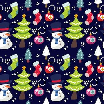 Kawaii niedlichen weihnachten nahtlosen musterhintergrund. kann für stoff usw. verwendet werden