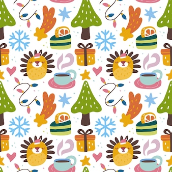 Kawaii niedliches nahtloses weihnachtsmuster im skandinavischen stil. kann für stoff usw. verwendet werden