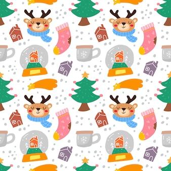 Kawaii niedliches nahtloses weihnachtsmuster im skandinavischen stil.