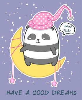Kawaii panda auf dem mond wünscht gute nacht