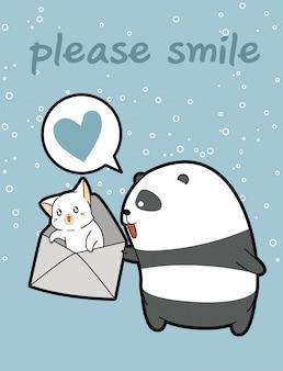 Kawaii panda hält katze im umschlag