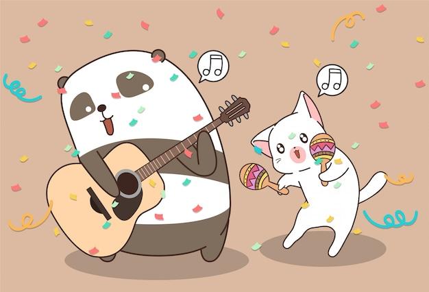 Kawaii panda und katze spielen musikinstrument