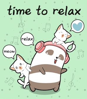 Kawaii panda und katzen entspannen sich