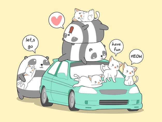 Kawaii panda und katzen mit auto im feiertag.