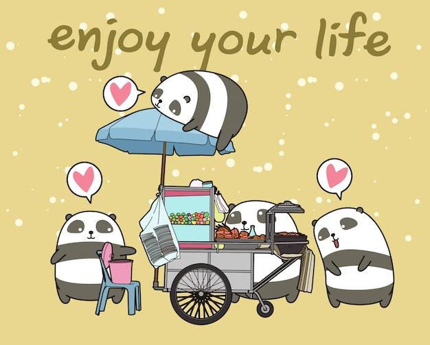 Kawaii pandas mit tragbarem stall