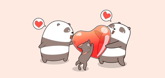 Kawaii pandas und katze mit herz