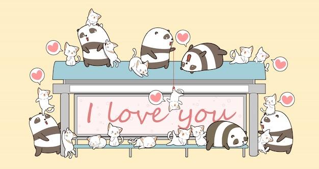 Kawaii pandas und katzen warten auf einen bus