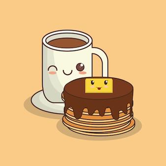 Kawaii pfannkuchen und kaffeebecher