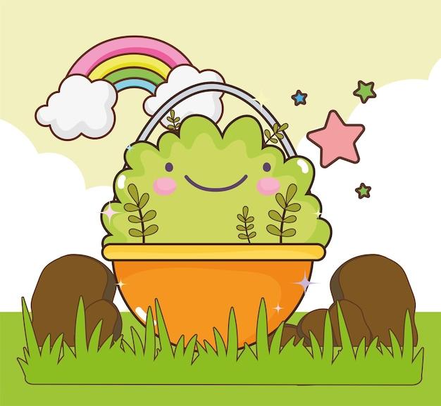 Kawaii-pflanze im korb