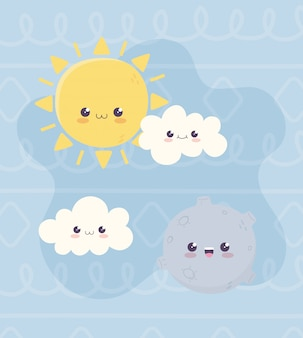 Kawaii planet sonne und wolken charakter cartoon
