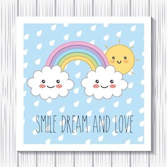 Kawaii regenbogen wolken sonne cartoon lächeln traum liebe