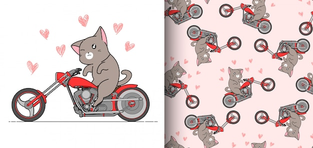 Kawaii reiterkatze des nahtlosen musters reitet das rote schnelle motorrad