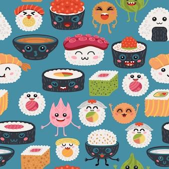 Kawaii-rollen des nahtlosen musters und sushihintergrund für baby. süße kinder japanische meeresfrüchte