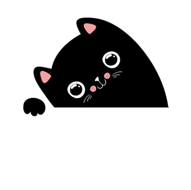 Kawaii schwarze katzenillustration, ihr text hier, vektor-eps10.