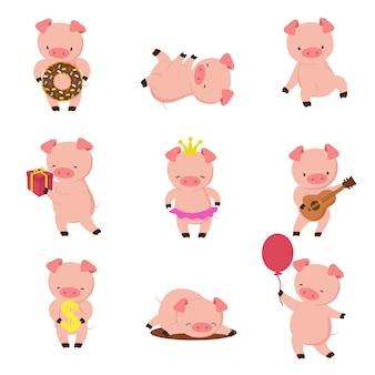Kawaii schweine. lustiges babyschwein im schlamm, im piggy essen und im laufen. schweine zeichentrickfigur