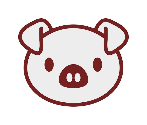 Kawaii schweinikone über weißem hintergrund