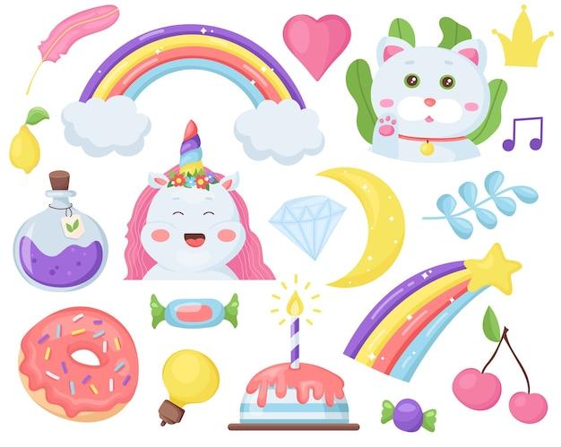 Kawaii set mit niedlichen einhorn, katze, regenbogen, kinderelementen. entzückende charaktere.