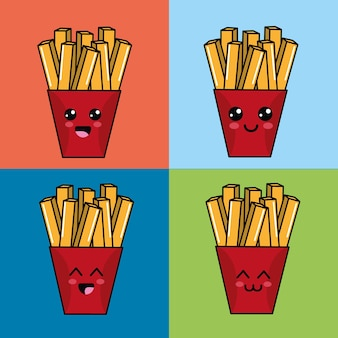 Kawaii set pommes kartoffeln symbol mit schönen ausdrücken