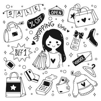 Kawaii shopping doodle strichzeichnungen isoliert auf weißem hintergrund