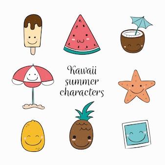 Kawaii sommer charakter sammlung