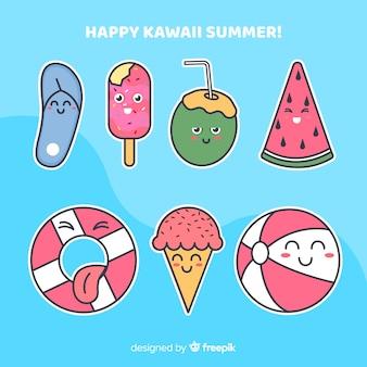 Kawaii sommer elementsatz