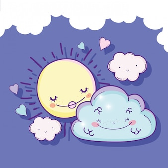 Kawaii sonne mit glücklichen flauschigen wolken