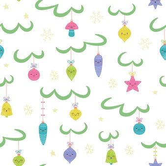 Kawaii spielzeug auf weihnachtsbaum neujahr ball nahtlose muster vektor-illustration im cartoon-stil