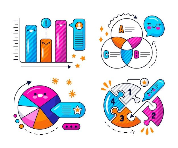 Kawaii sprechblasen, pfeile und infografik-elemente-aufkleber