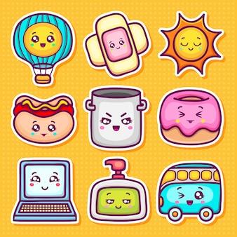 Kawaii sticker icons hand gezeichnete doodle färbung