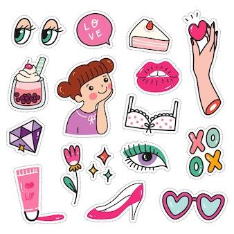 Kawaii sticker-set im doodle-stil