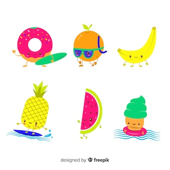 Kawaii-stil sommer charakter sammlung