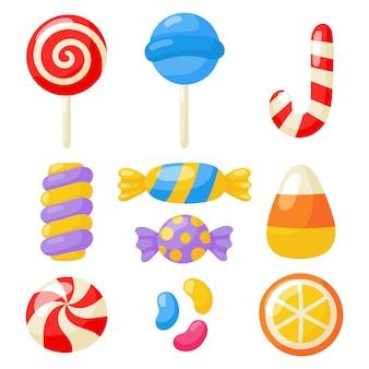 Kawaii süß pastell set süßigkeiten süßigkeiten desserts mit verschiedenen arten, isoliert auf weiss