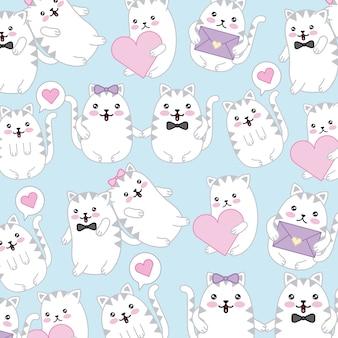 Kawaii süße katzen sprechblase liebe herzen tapete