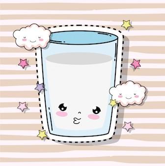 Kawaii süßes milchglas mit wolken und sternen