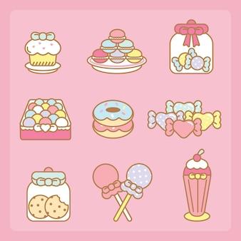 Kawaii süßigkeiten eingestellt