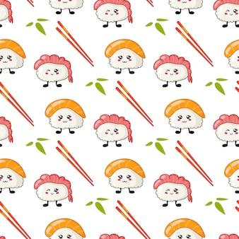 Kawaii sushi, brötchen, essstäbchen nahtloses muster im manga-stil
