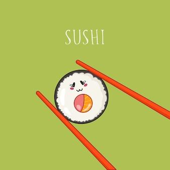 Kawaii sushi, brötchen und stäbchen