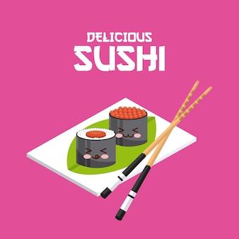Kawaii sushi teller und stäbchen