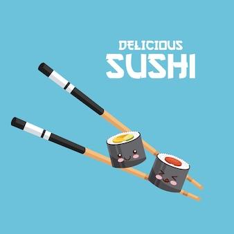 Kawaii sushi und essstäbchen