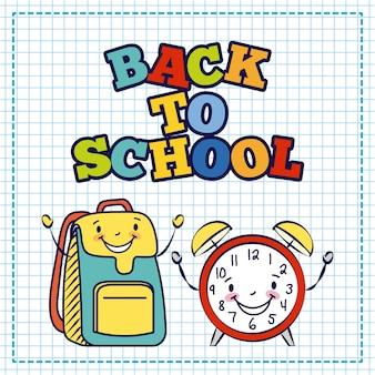 Kawaii tasche und wecker, zurück in die schule