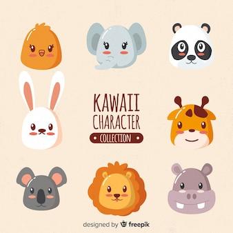 Kawaii tiere hand gezeichnete sammlung