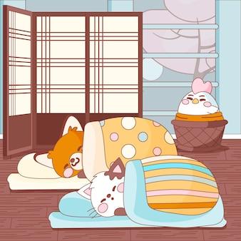 Kawaii tiere schlafen auf einem futon